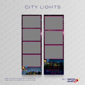 City themed 2x6 Photo Strip Templates for Photo Booths with Fireworks