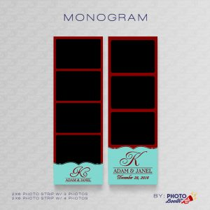2x6 Photo Strip Templates for Photo Booths with Monogram