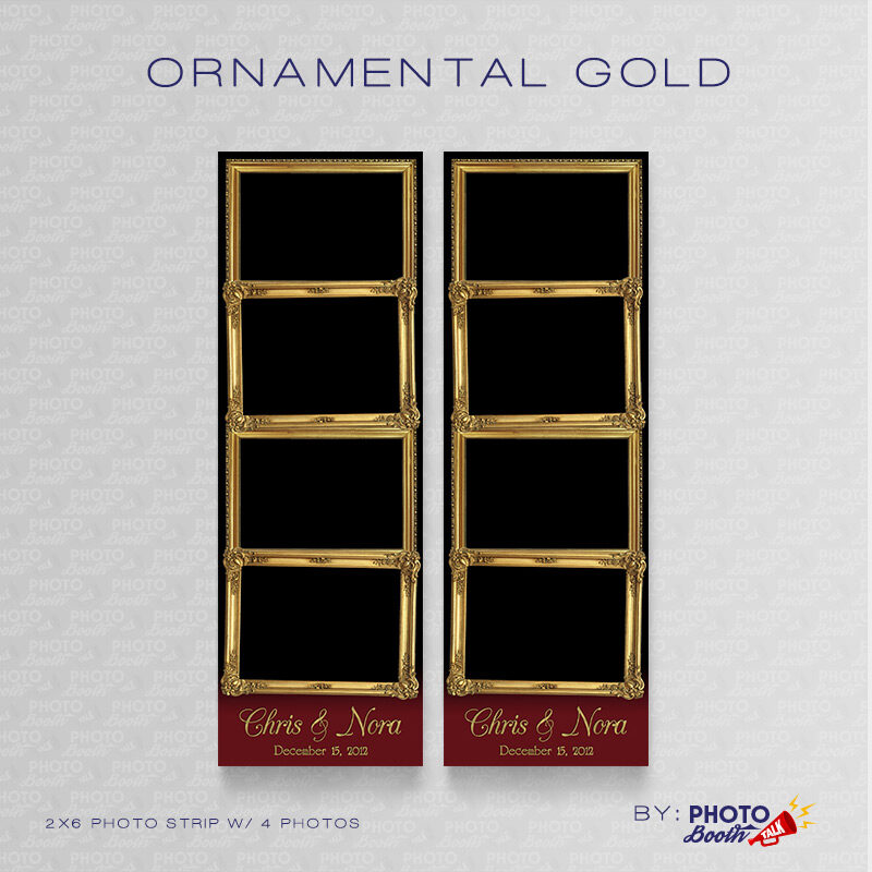 Ornate Gold Frame 2x6 Photo Strip Templates for Photo Booths