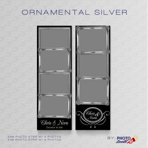 Ornate Silver Frame 2x6 Photo Strip Templates for Photo Booths