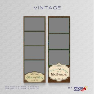 Vintage themed 2x6 Photo Strip Templates for Photo Booths