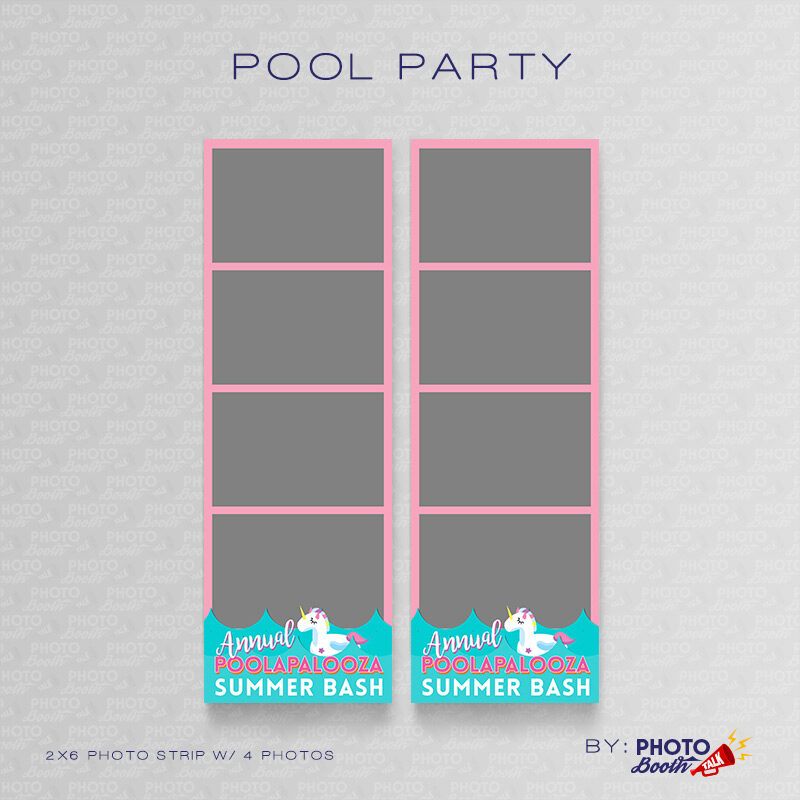 Pool Party Themed 2x6 Photo Strip Templates featuring a Unicorn Float
