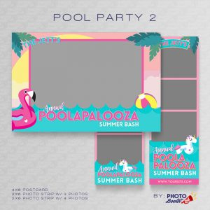 Pool Party Themed Photo Booth Template Set - Featuring 4x6 and 2x6 Photo Strips