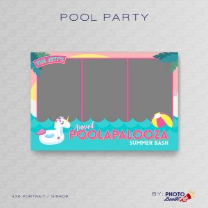 Pool Party themed 4x6 Photo Booth Template for MirrorMe Booth and other Portrait Oriented Photo Booths