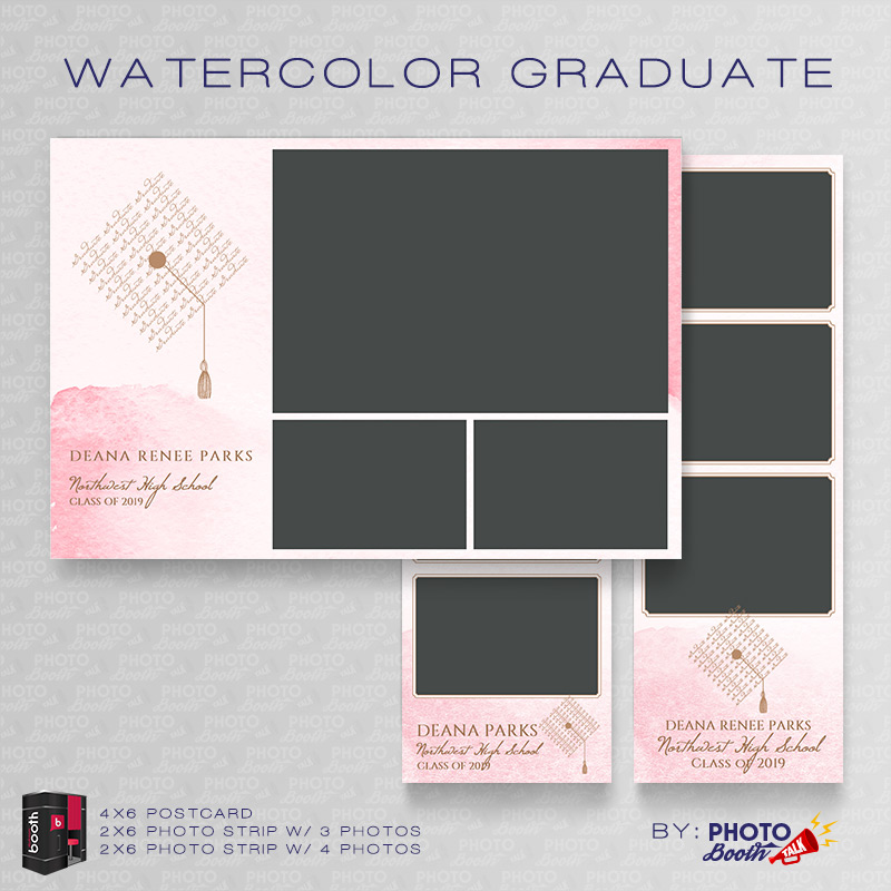 Watercolor Graduate For Darkroom Booth Photo Booth Talk - Photo booth design templates