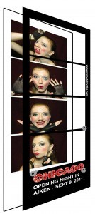 photo booth strip as it's being assembled, with an overlay layer about to be dropped onto the pictures.